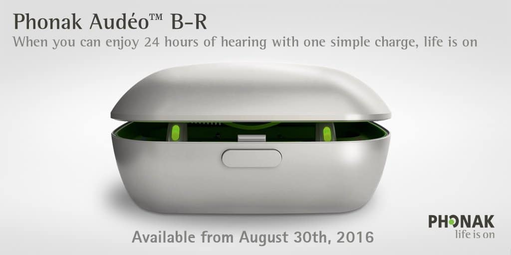 Introducing Phonak Audéo™ B-R: The first lithium-ion rechargeable hearing aid that provides 24 hours* of hearing.