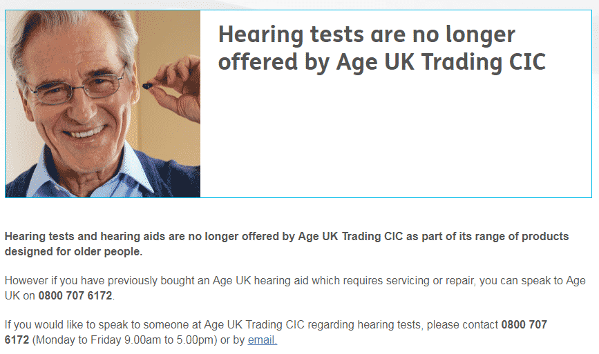 Age UK withdraw from hearing aids